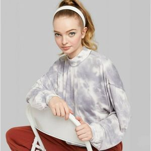 Wild Fable | Mock Turtleneck Tie Dye Crop Shirt L